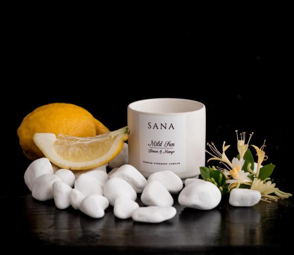 lumanare parfumata premium cu lamaie si mango in ceramica L