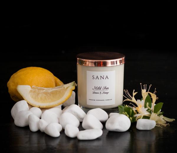 lumanare parfumata premium cu lamaie si mango in sticla 30CL