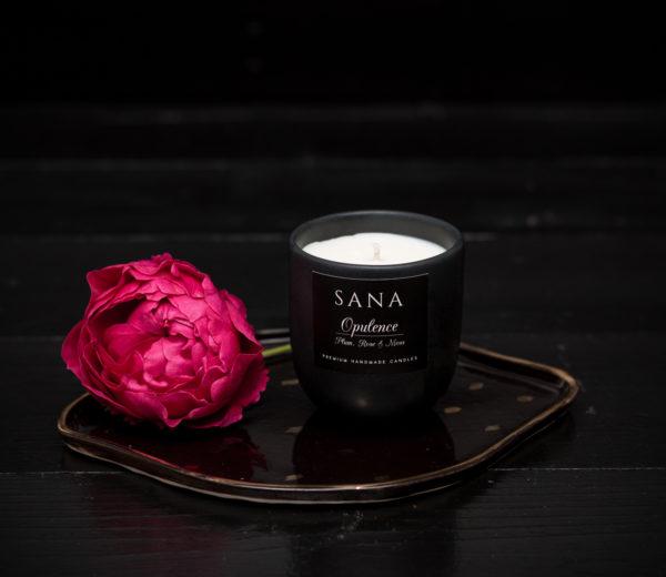 lumanare parfumata cu pruna si trandafir in ceramica S