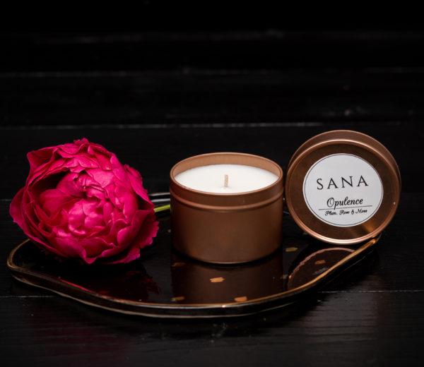lumanare premium parfumata cu trandafiri si prune in cutie metalica mic